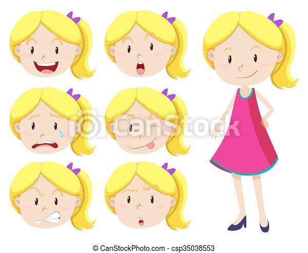 χαριτωμένος , διαφορετικός , κορίτσι , αναφερόμενος στο πρόσωπο αναπαράσταση  - csp35038553