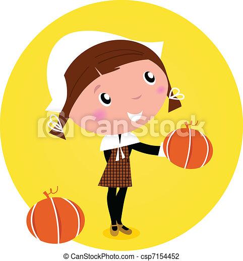 χαριτωμένος , κεφάλι , illustration., - , έκφραση ευχαριστίων , /, απομονωμένος , μικροβιοφορέας , white., κορίτσι , κολοκύθα , γελοιογραφία , οδοιπόρος  - csp7154452