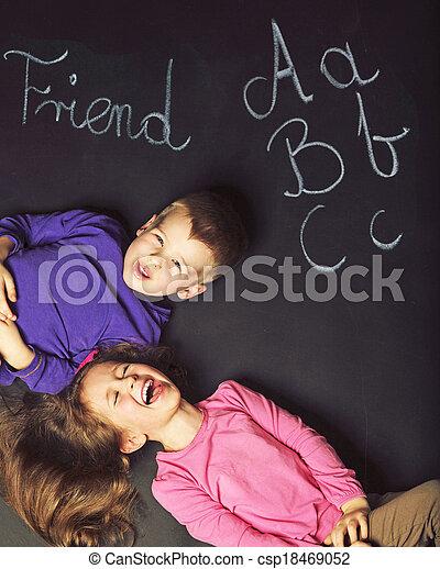 χαριτωμένος , μικρόκοσμος , μαύρο , πίνακας , παίξιμο  - csp18469052