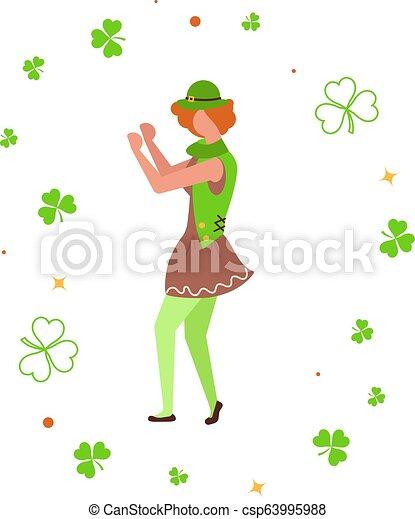 χαριτωμένος , χορός , ανάμεσα , shamrock., καλλικάτζαρος , γελοιογραφία  - csp63995988