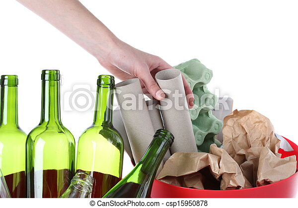 χαρτί , γυαλί , σκουπίδια  - csp15950878