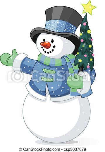 χιονάνθρωπος , χριστουγεννιάτικο δέντρο  - csp5037079