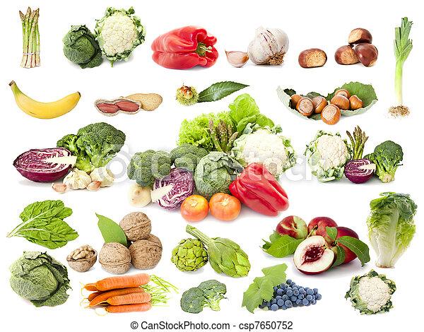 χορτοφάγοs , φρούτο , δίαιτα , συλλογή , λαχανικά  - csp7650752