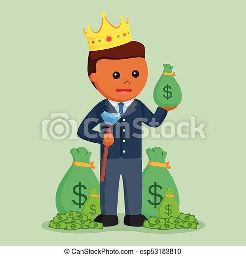 χρήματα , επιχειρηματίας , πρίγκιπας , λώτ , αφρικανός  - csp53183810