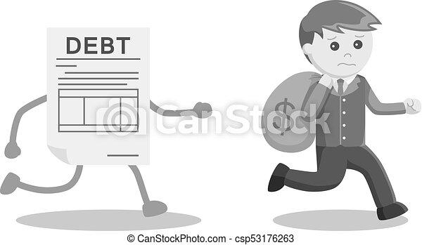 χρήματα , μακριά , χρέος , τρέξιμο , επιχειρηματίας  - csp53176263