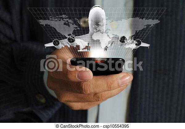 χρήση , τριγύρω , αρμοδιότητα τηλέφωνο , κινητός , ταξιδεύω , χέρι , αναβλύζω , κόσμοs , άντραs  - csp10554395