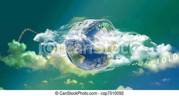 χρήση υπολογιστή , σύνεφο , πανοραματικός , τεχνολογία  - csp7010092