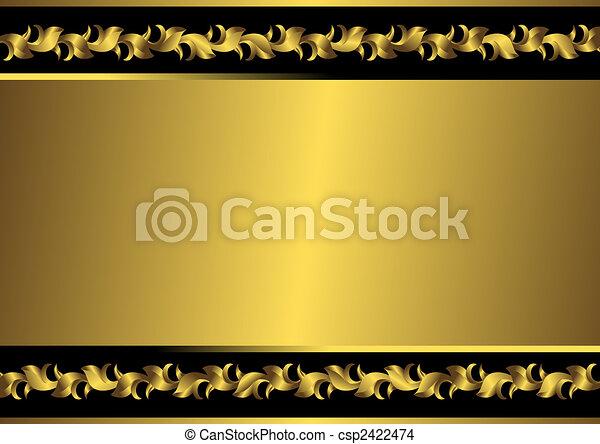 χρυσαφένιος , κορνίζα , μαύρο , (vector), κρασί  - csp2422474