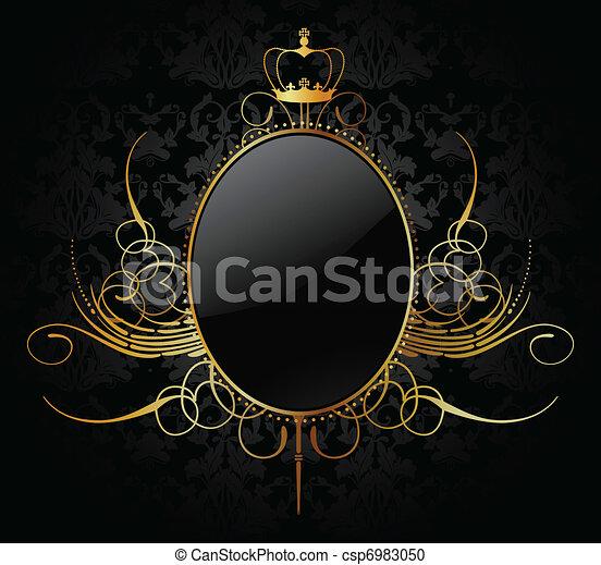 χρυσαφένιος , κορνίζα , μικροβιοφορέας , βασιλικός , φόντο  - csp6983050