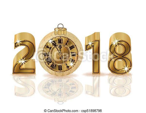 χρυσαφένιος , ρολόι , απομονωμένος , εικόνα , μικροβιοφορέας , 2018, έτος , καινούργιος , ευτυχισμένος  - csp51898798