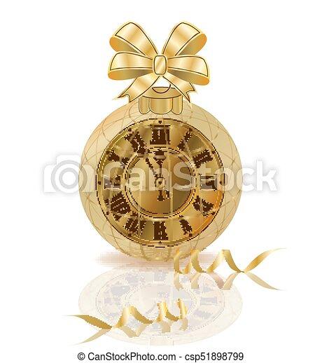 χρυσαφένιος , ρολόι , απομονωμένος , & , εικόνα , μικροβιοφορέας , εύθυμος , έτος , καινούργιος , xριστούγεννα  - csp51898799