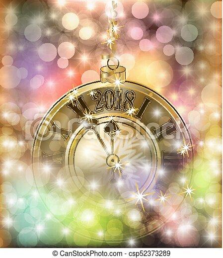 χρυσαφένιος , ρολόι , & , εικόνα , μικροβιοφορέας , εύθυμος , έτος , καινούργιος , xριστούγεννα , ευτυχισμένος  - csp52373289