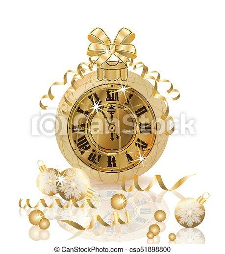 χρυσαφένιος , ρολόι , εικόνα , μικροβιοφορέας , εύθυμος , έτος , καινούργιος , xριστούγεννα , ευτυχισμένος  - csp51898800