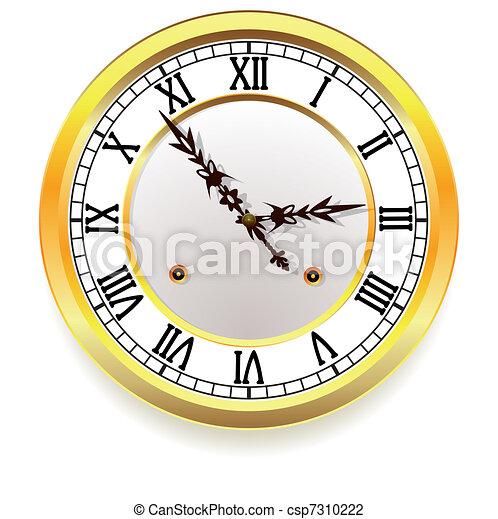 χρυσαφένιος , ρυθμός , retro , clock. - csp7310222