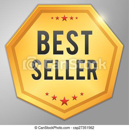 χρυσαφένιος , σήμα , καλύτερος , πωλητής  - csp27351562