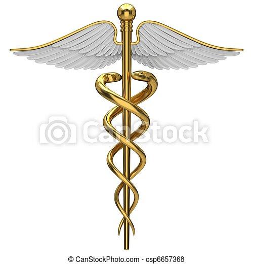χρυσαφένιος , σύμβολο , ιατρικός , caduceus  - csp6657368