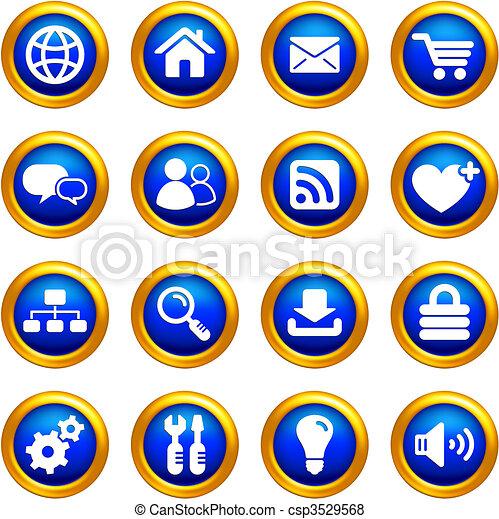 χρυσαφένιος , σύνορα , εικόνα , θέτω , κουμπιά , internet  - csp3529568