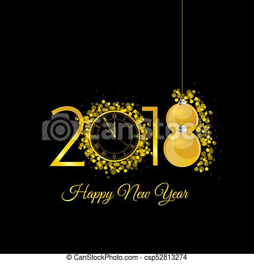 χρυσός , ρολόι , εικόνα , 2018, έτος , καινούργιος , ευτυχισμένος  - csp52813274