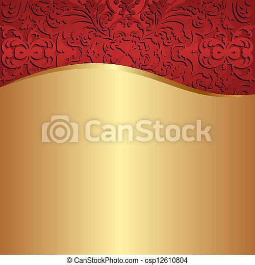 χρυσός , φόντο , κόκκινο  - csp12610804