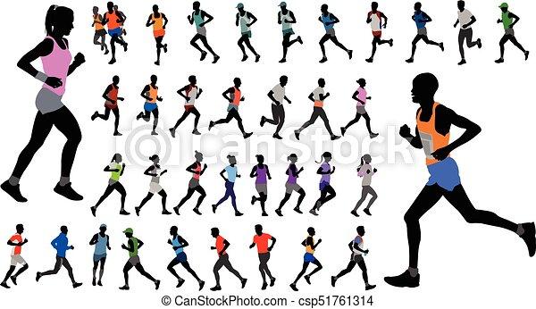 χρώμα , απεικονίζω σε σιλουέτα , αθλητικό ντύσιμο , δρομέας , συλλογή  - csp51761314