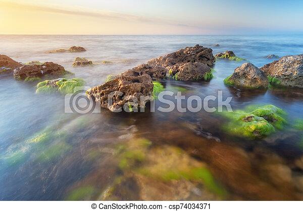 όμορφος , δύση θαλασσογραφία  - csp74034371