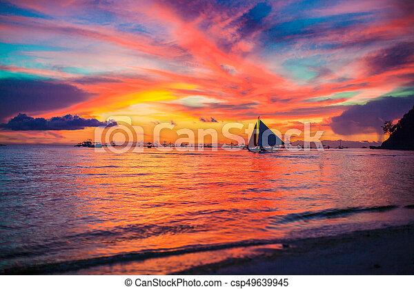 όμορφος , εξωτικός , caribbean , καταπληκτικός , ηλιοβασίλεμα , παραλία  - csp49639945
