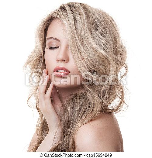 όμορφος , κατσαρός , υγιεινός , μακριά , girl., hair., ξανθομάλλα  - csp15634249
