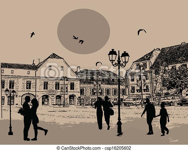 όμορφος , περίγραμμα , άνθρωποι , μικροβιοφορέας , σχεδιάζω , φόντο , cityscape  - csp16205602