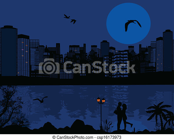 όμορφος , cityscape , ζευγάρι , περίγραμμα , φόντο  - csp16173973