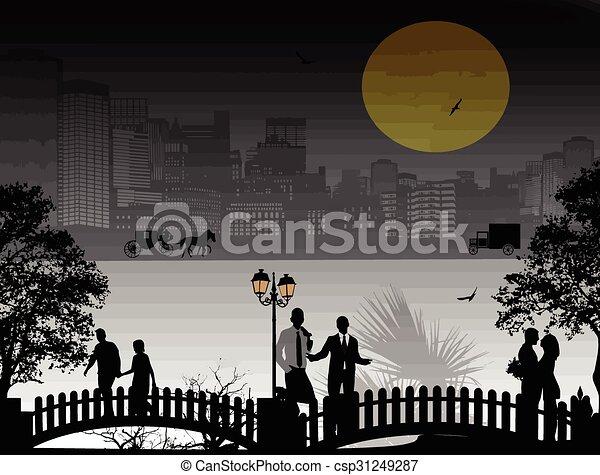 όμορφος , cityscape , περίγραμμα , άνθρωποι  - csp31249287