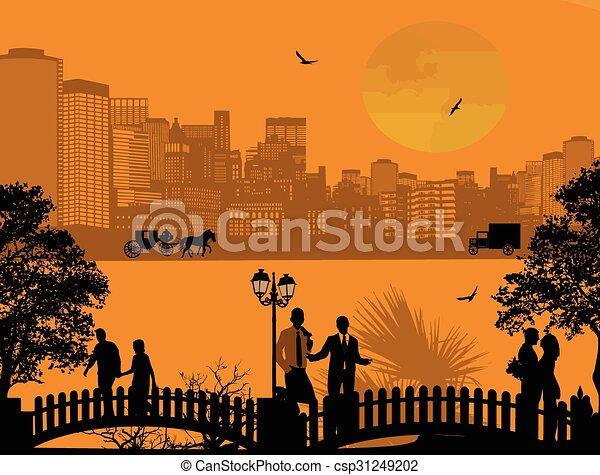 όμορφος , cityscape , περίγραμμα , άνθρωποι  - csp31249202