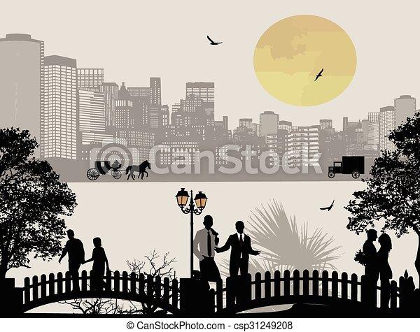 όμορφος , cityscape , περίγραμμα , άνθρωποι  - csp31249208