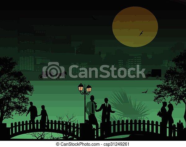 όμορφος , cityscape , περίγραμμα , άνθρωποι  - csp31249261