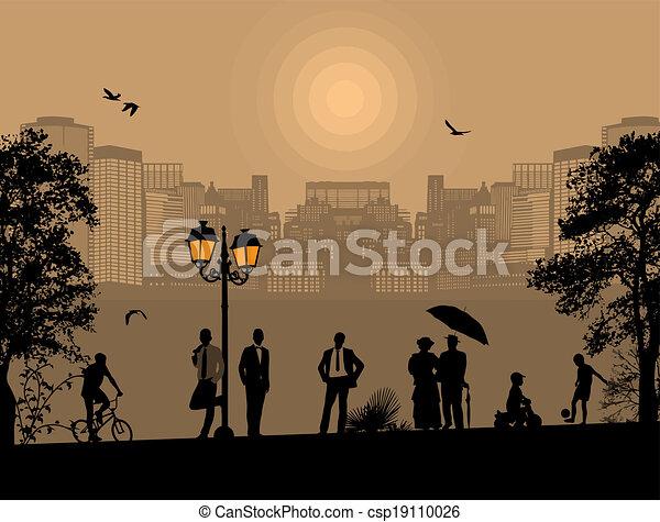 όμορφος , cityscape , περίγραμμα , άνθρωποι  - csp19110026