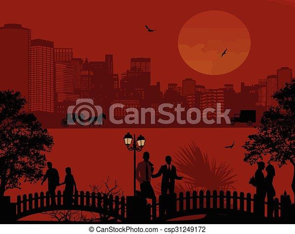 όμορφος , cityscape , περίγραμμα , άνθρωποι  - csp31249172