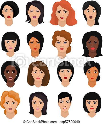 όμορφος , hairstyle , θέτω , τονίζομαι , αναπαριστώ , μικροβιοφορέας , χαρακτήρας , απομονωμένος , φόντο , γελοιογραφία , πρόσωπο , γυναίκα , διάφορος , εικόνα , γυναίκα , γδέρνω , πορτραίτο , κορίτσι , ζεσεεδ , του προσώπου , άσπρο  - csp57800049