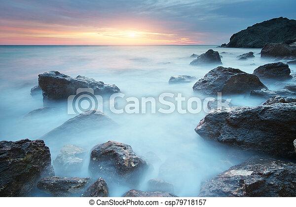 όμορφος , sunset., θαλασσογραφία  - csp79718157