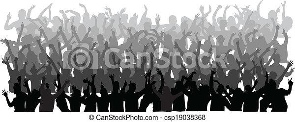 όχλος , μεγάλος , άνθρωποι , χορός  - csp19038368