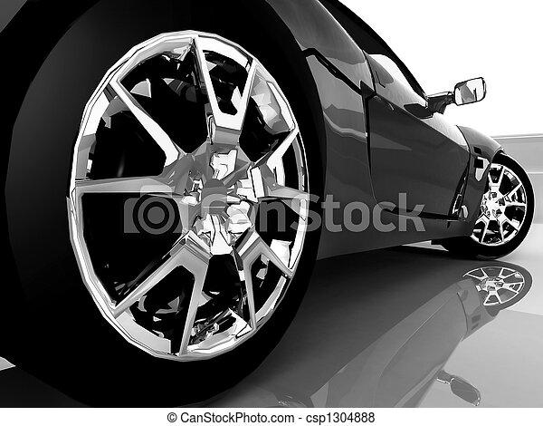 автомобиль, спорт, черный, вверх, закрыть - csp1304888