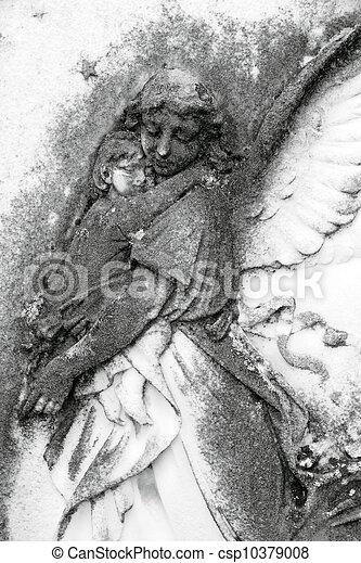 ангел, держа, ребенок - csp10379008