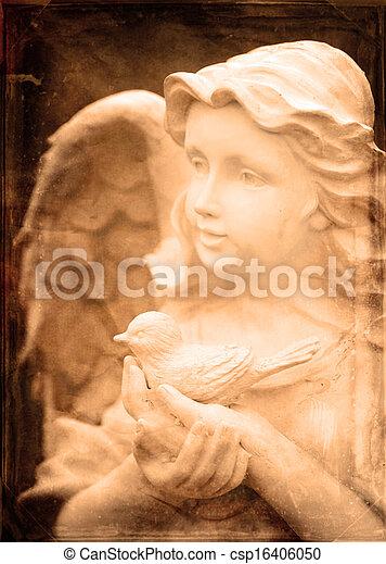 ангел, птица, статуя, держа - csp16406050