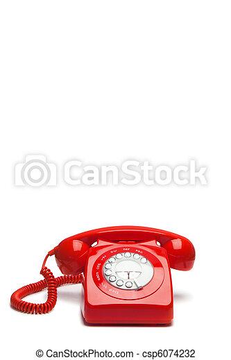 античный, телефон, красный - csp6074232