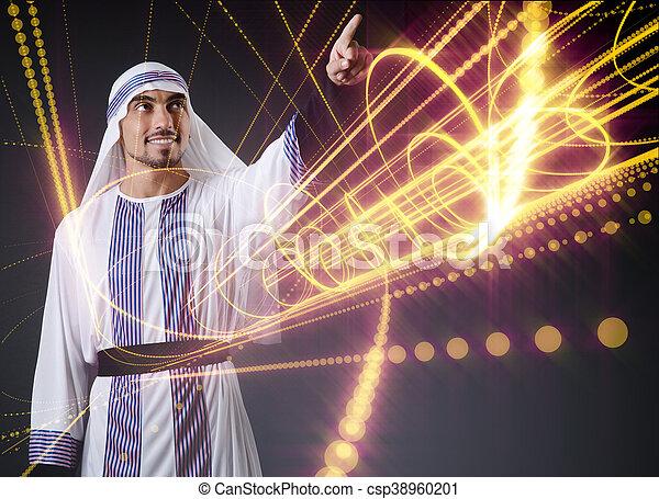 арабский, концепция, виртуальный, buttons, прессование, футуристический, человек - csp38960201
