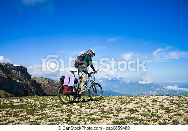 верховая езда, велосипед, человек - csp6859480