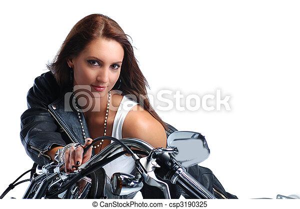 верховая езда, девушка, велосипед, привлекательный - csp3190325