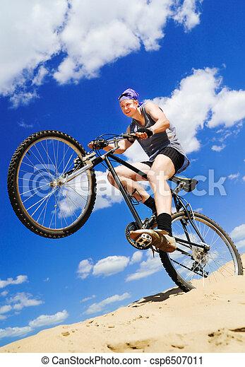 верховая езда, люди, молодой, велосипед - csp6507011