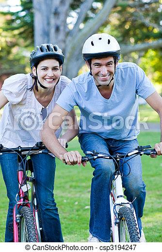 верховая езда, пара, анимационный, велосипед - csp3194247