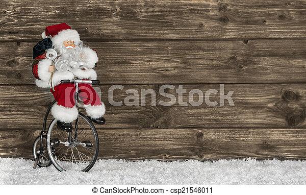 веселая, задний план, деревянный, приветствие, bike., санта, рождество - csp21546011