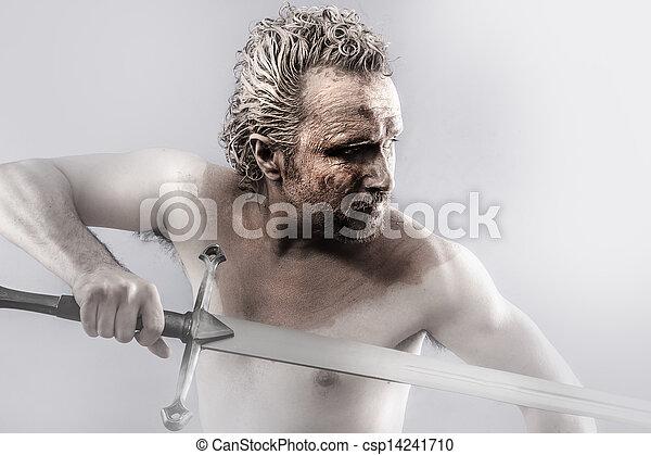 воин, человек, covered, меч, грязи - csp14241710