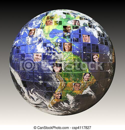 глобальный, сеть, люди - csp4117827